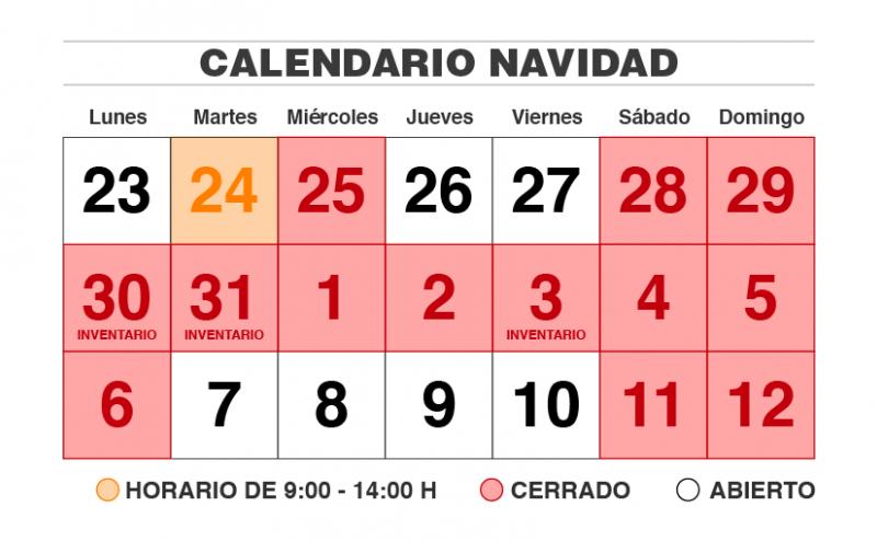 Calendario Navidad e inventario